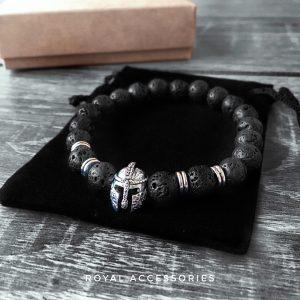 Браслет мужской камень лава «URBAN SPARTAN SILVER | Lava» со шлемом спартанца