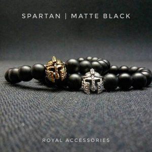 Браслет мужской камень шунгит «Spartan Gold/matte Black»