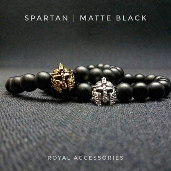 Браслет мужской камень шунгит «Spartan Goldmatte black»