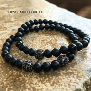 Браслет мужской камень шунгит с цирконом «Black Rhodium Plated/1 CZ Bead»