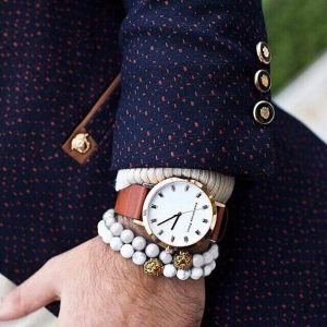 Мужские браслеты  из камней с белым говлитом «LION GOLD | WHITE HOWLITE»