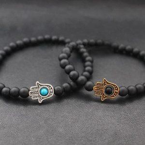 Мужские браслеты из камней с шунгитом «Hamsa Silver | Matte Black»