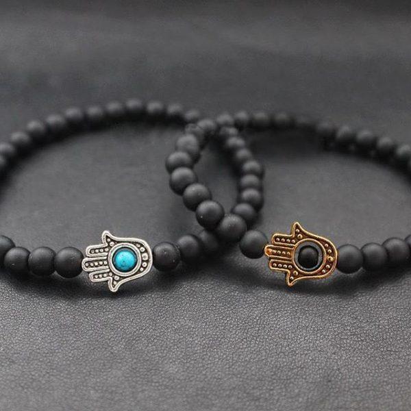 Мужские браслеты из камней с шунгитом «Hamsa Silver matte black» (1)