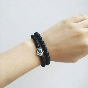 Мужские браслеты из камней с шунгитом «Hamsa Silver Matte Black» (2)