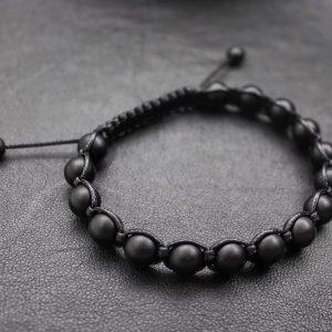 Мужские браслеты из камней с шунгитом «SHAMBALLA | BRUTAL MATTE 8mm» черные