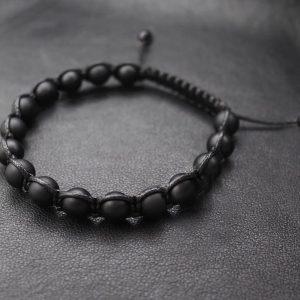 Мужские браслеты из камней с шунгитом SHAMBALLA BRUTAL MATTE 8mm черные (3)
