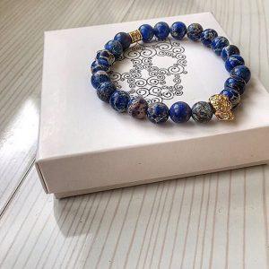 Мужские браслеты из камней с синей яшмой «ANTIQUE SKULL | BLUE»