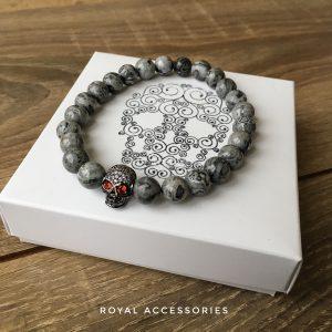 Мужские браслеты из камней с яшмой «DARK SKULL CZ» кулон-череп
