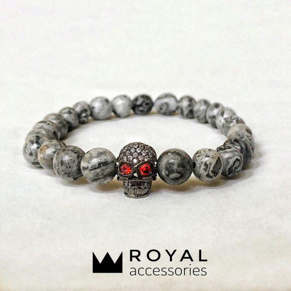 Мужские браслеты из камней с яшмой DARK SKULL CZ кулон-череп (2)