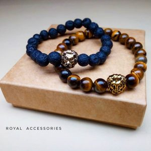 Мужские браслеты из натуральных камней «Gold Lion» шамбала