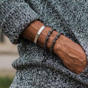 Мужские браслеты из натуральных камней гематита «DOMINANCE CZ || Black Hem»
