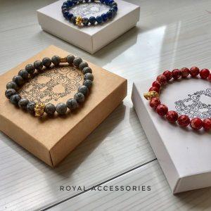 Мужские браслеты из натуральных камней с черепами «ANTIQUE SKULL»