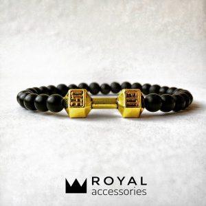 Мужские браслеты из натуральных камней с гантелей «Fit Life Dark»