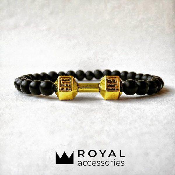 Мужские браслеты из натуральных камней с гантелей «Fit Life Dark» (1)
