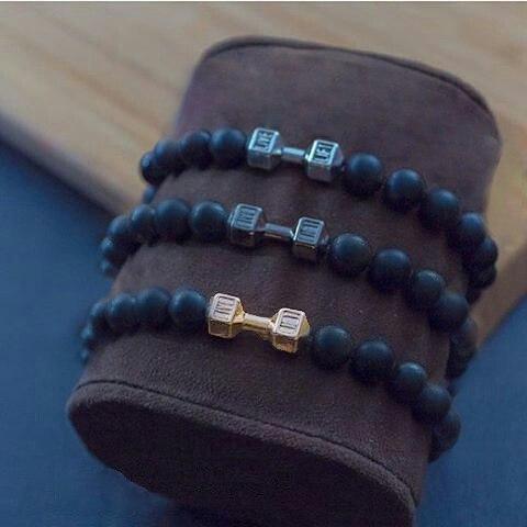Мужские браслеты из натуральных камней с гантелей «Fit Life Dark» (2)