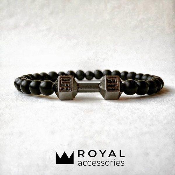 Мужские браслеты из натуральных камней с гантелей «Fit Life Dark» (3)