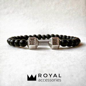 Мужские браслеты из натуральных камней с гантелей «Fit Life Dark» (4)