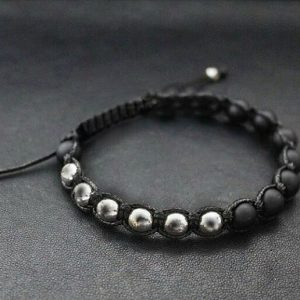 Мужские браслеты из натуральных камней шамбала «Shambala Hematite/Silver»