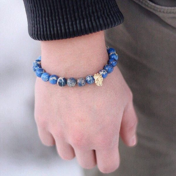 Мужские браслеты с черепами ANTIQUE SKULL BLUE синие