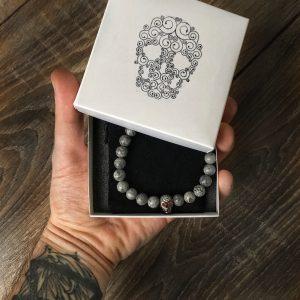 Мужские браслеты с черепами «DARK SKULL CZ»