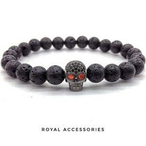 Мужские браслеты с черепами DARK SKULL CZ LAVA из лавы (2)