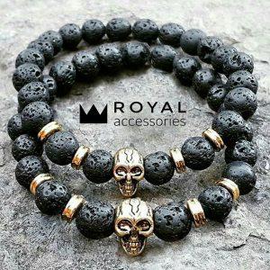 Мужские браслеты с черепами «Gold Skull Lava» лава