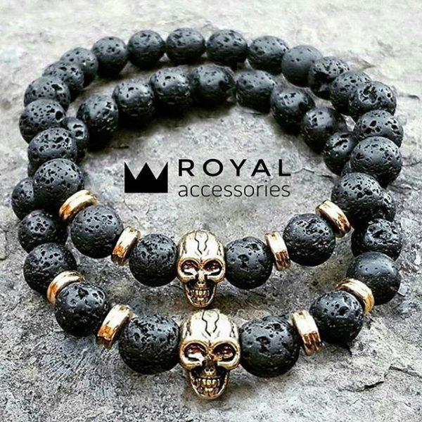 Мужские браслеты с черепами Gold Skull lava лава