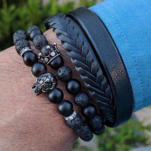 Мужские браслеты с короной «ROYAL DARK CZ» черные
