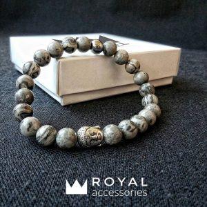 Мужские браслеты шамбала «️Buddha Silver / With Grey Jasper Stones»️