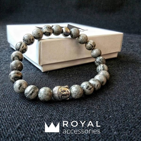 Мужские браслеты шамбала «️Buddha Silver with Grey Jasper stones»️ (1)