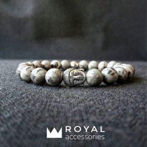 Мужские браслеты шамбала «️Buddha Silver With Grey Jasper Stones»️ (2)