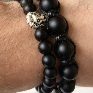 Мужские браслеты шамбала «CLASSIC MEN's SHAMBALLA» с черными камнями