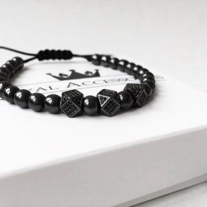 Мужские браслеты шамбала «DOMINANCE CZ || Black Hem»