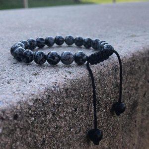 Мужские браслеты шамбала «OBSIDIAN | BRAIDED CASTLE» с обсидианом