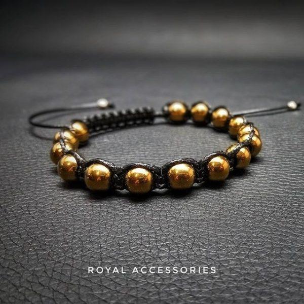 Мужские браслеты шамбала Shambala HematiteGold золотые