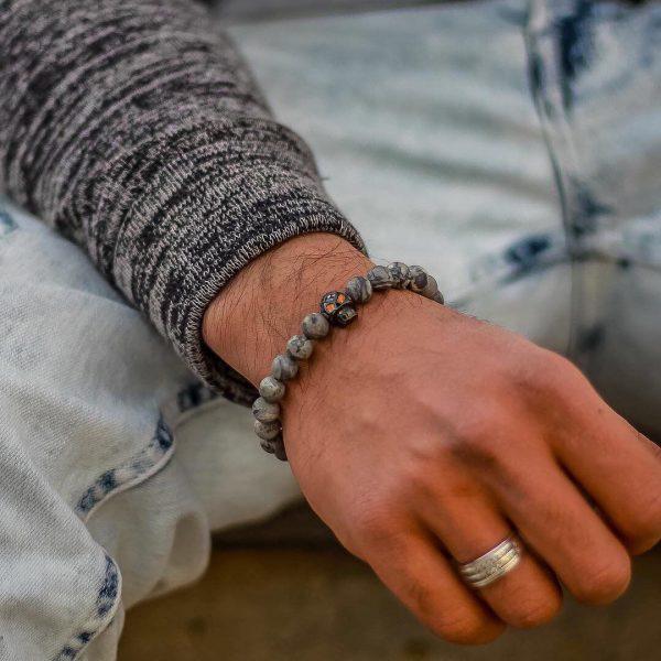 Мужские браслеты шамбала с черепом