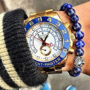 Мужские браслеты со львом «LION SILVER | BLUE LAPIS»