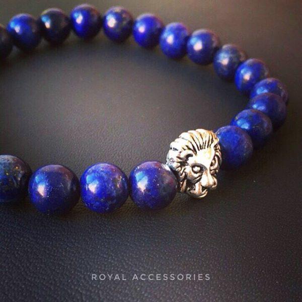Мужские браслеты со львом LION SILVER BLUE LAPIS (3)