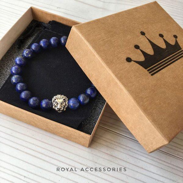 Мужские браслеты со львом LION SILVER BLUE LAPIS (4)