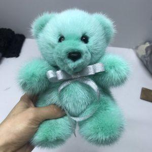 Интерьерная игрушка мишка бирюзовый из меха 000.908