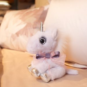 Интерьерная игрушка единорог розовый из меха 000.898