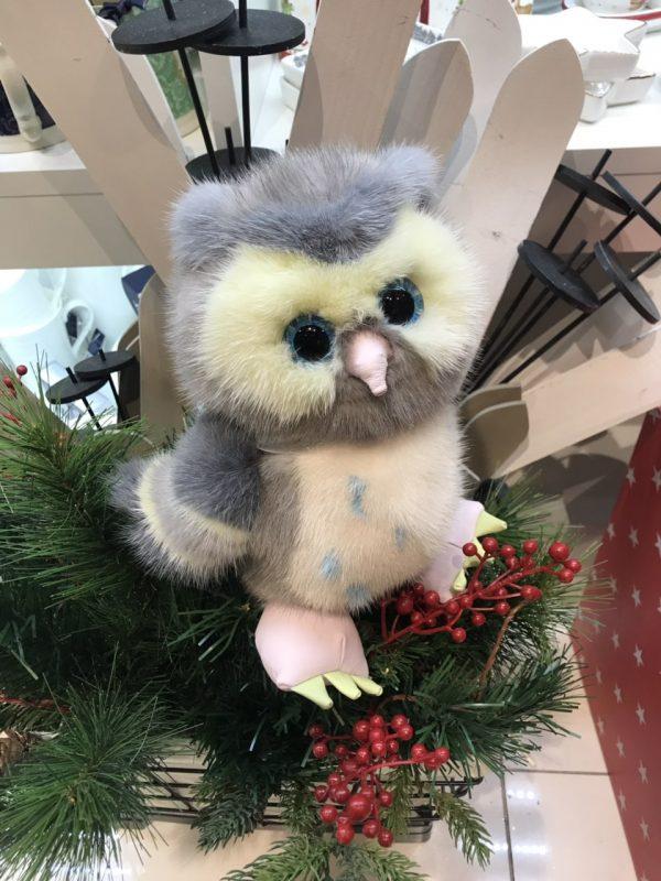 Интерьерная игрушка сова из меха 000.913 фото