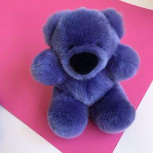 Интерьерная игрушка мишка синий из меха 000.867